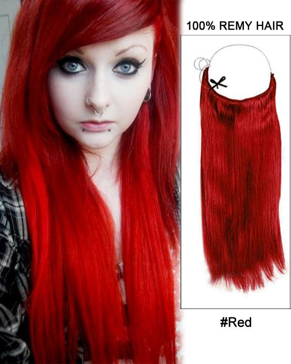 22 Red Straight 100 Remy Hair Flip In Human Extensions