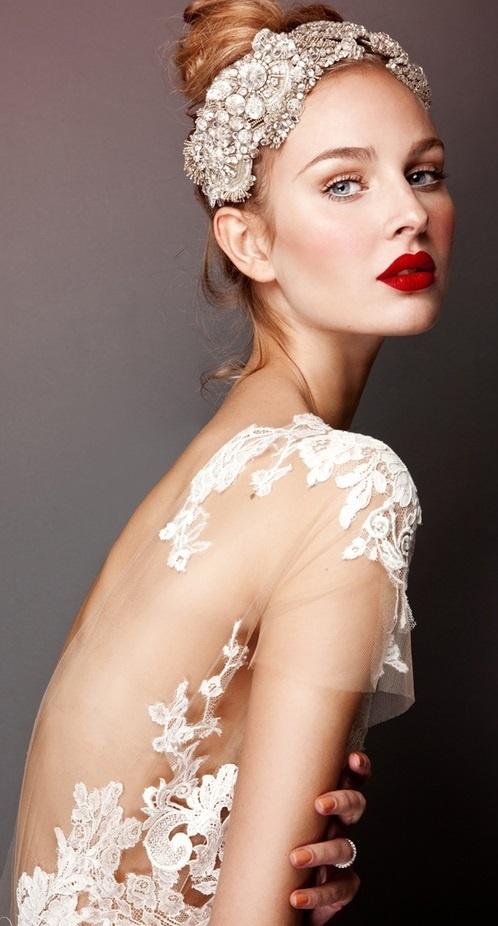 Bride's updo with beautiful ornate Swarovski Gatsby flapper headpiece bridal hair Toni Kami Wedding Hairstyles ♥ ❷ Wedding hairstyle ideas  Gorgeous lace wedding gown dress red lipstick
