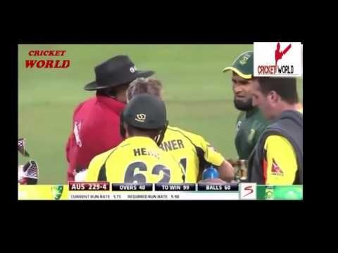 Cricket Fight Between   Imran Tahir VS David Warner 5th ODI  Match 2016