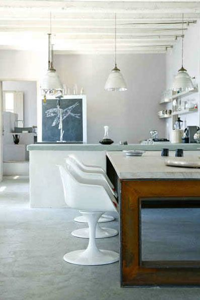 : Cement Decor, Wooden Beams, Clean Design, Cement Tables, Cool Tables, Dining Spaces, Monochromatic Kitchens Dinning, Cement Wall, Cement Finish