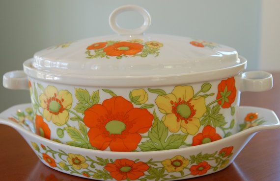 2 Porcelain Casserole Baking Dishes with Yellow and Orange Flowers, Shabby Chic Baking Serving