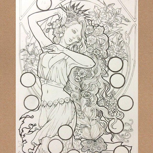 #illust #instaart #instalike #illustration #art #girl #fantasy #pen #pencil #picture #flower #絵 #イラスト #落書き #アナログ #ミュシャ #ミュシャ風 #オリキャラ #創作 #下書き #花 #女の子 #細密 #趣味 #手描き #ペン画 #疲れた #途中経過 today's ...