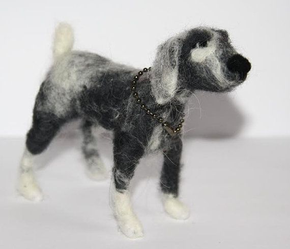 sweet Dog  needle felted miniature small animal by nutkaart