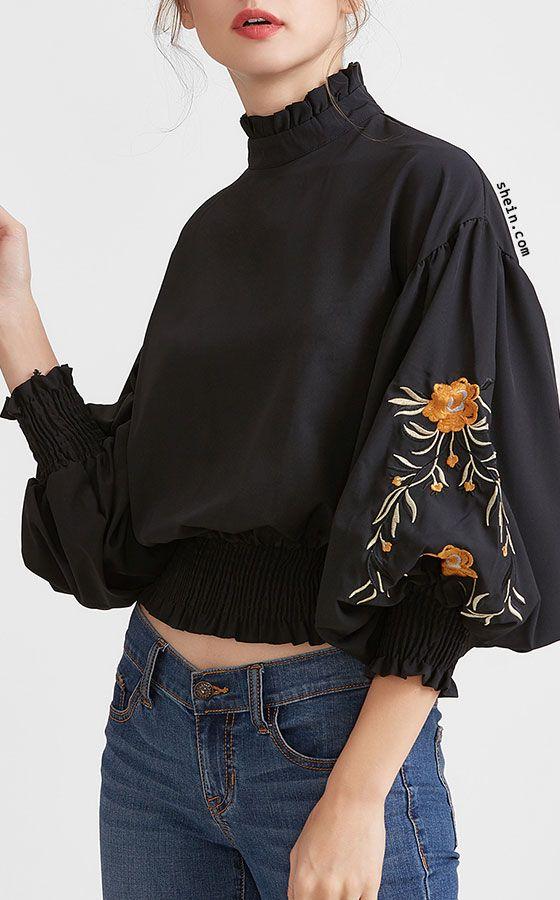 Black Flower Embroidered Lantern Sleeve Shirred Hem Blouse