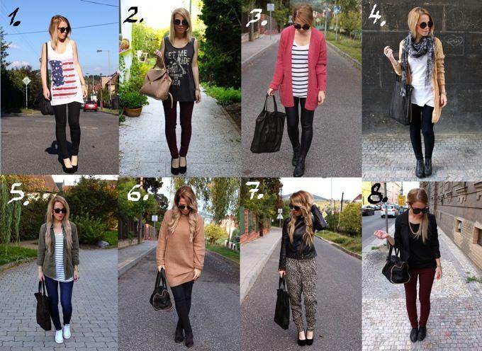 Jednoduché outfity na teplejíší i chladnějíší podzim. Typy oblečení má doma každý ;) .