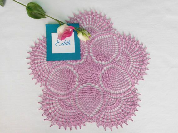 Round lilac crochet tablecloth 34cm or 13.38 by ThreadloveByEdith