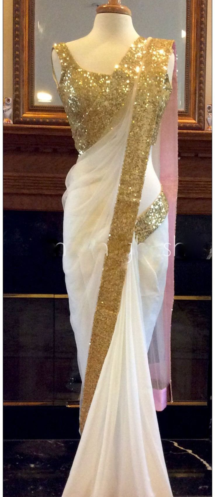 White Color Georgette Saree - Rs. 1899.00