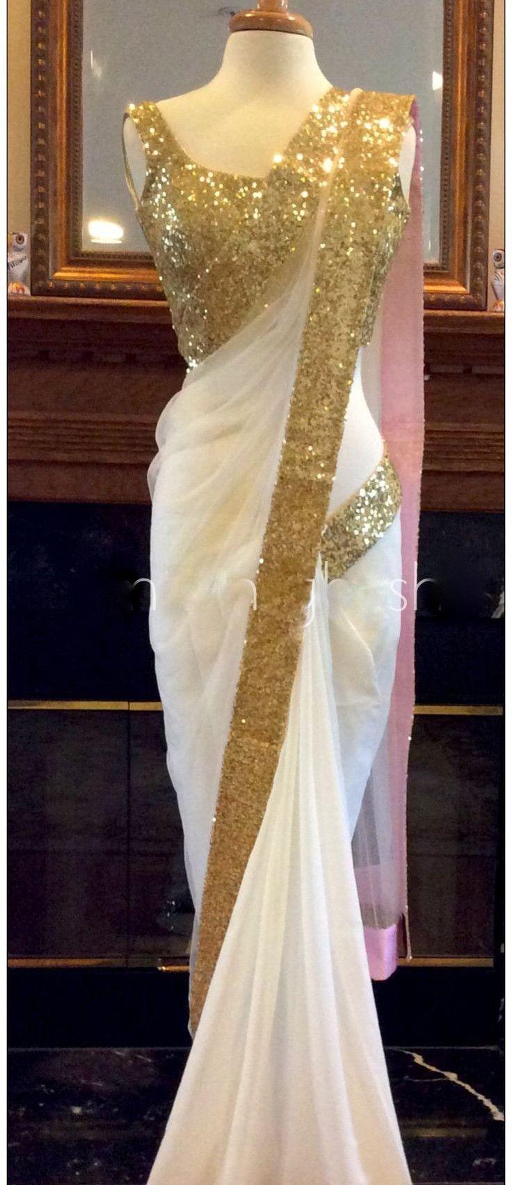 White Color Georgette Saree - Rs. 1899.00