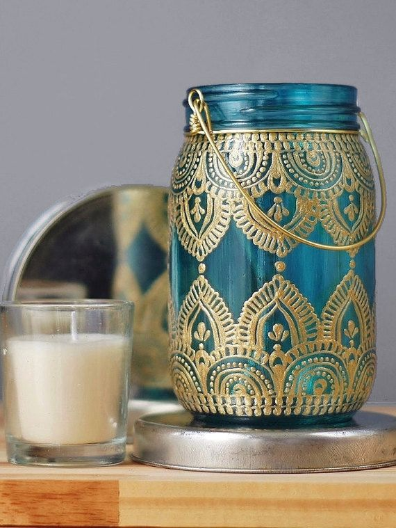 Gypsy Decor Mason Jar Candleholder, Turquoise Glass with Gold Detailing
