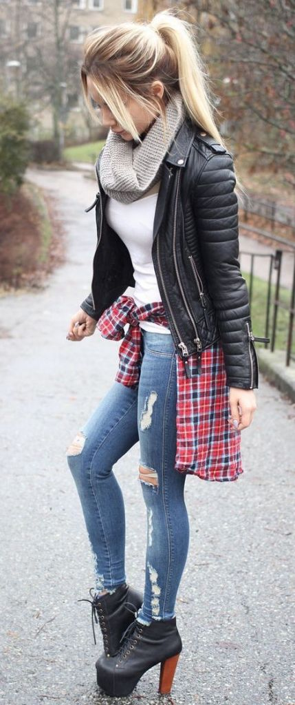 #fall #fashion / leather jacket + booties