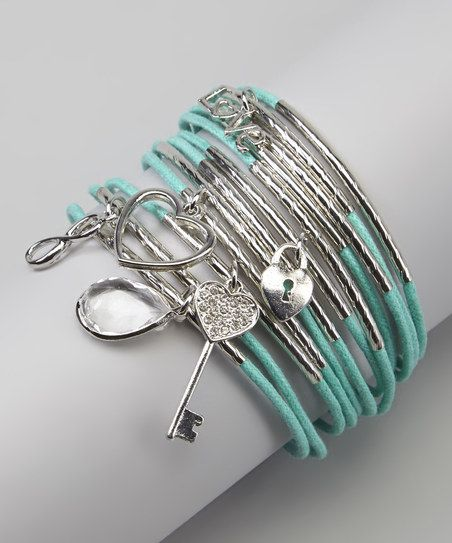 Silver & Turquoise Charm Stretch Bracelet Set