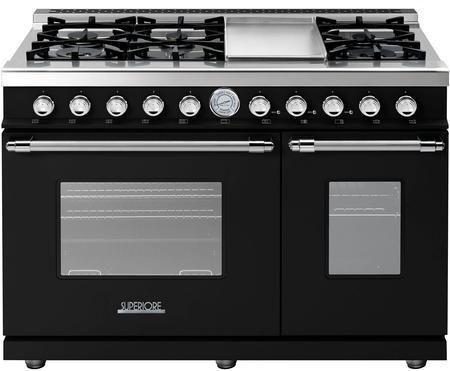 """RD482GCNC 48"""" DECO Series Freestanding Natural Gas Range with 6 Sealed Burners 2 Gas Ovens Electric Griddle and Convection in Black Matte with Chrome Accent"""