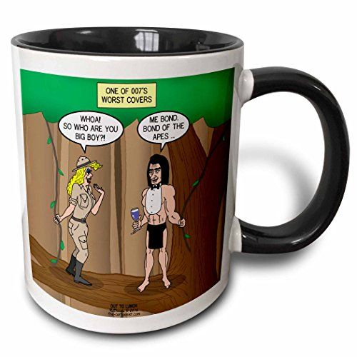 Rich Diesslins Funny Out to Lunch Cartoons - James Bond of the Apes - Worst 007 Disguise Ever - 11oz Two-Tone Black Mug  @ niftywarehouse.com #NiftyWarehouse #Geek #Fun #Entertainment #Products