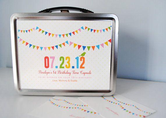 Time Capsule custom baby birthday keepsake by AlmostSundayInc