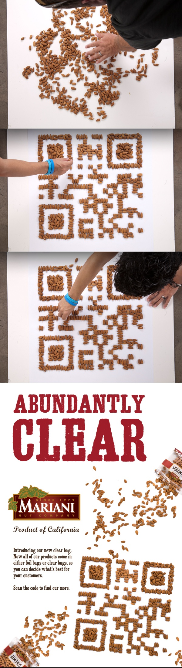 Poster design with qr code - Created A Giant Qr Code Made Out Of Real Mariani Almonds Designed The Ad And