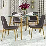 159 0 Ids Home Dining Room Chair Set 4 Wooden Look Pattern Leg