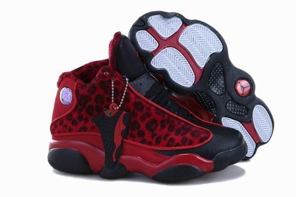 Air Jordan 13 Kids Cheetah Leopard Print Dark Red Black New Jordans Shoes ce9d07585
