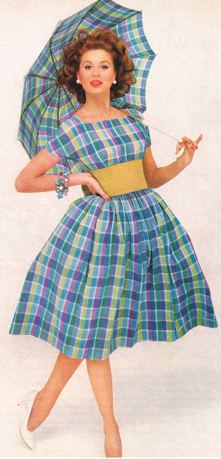 suzy parker 1959  60s mad men plaid day dress blue yellow umbrella full skirt vintage fashion style color photo print ad model