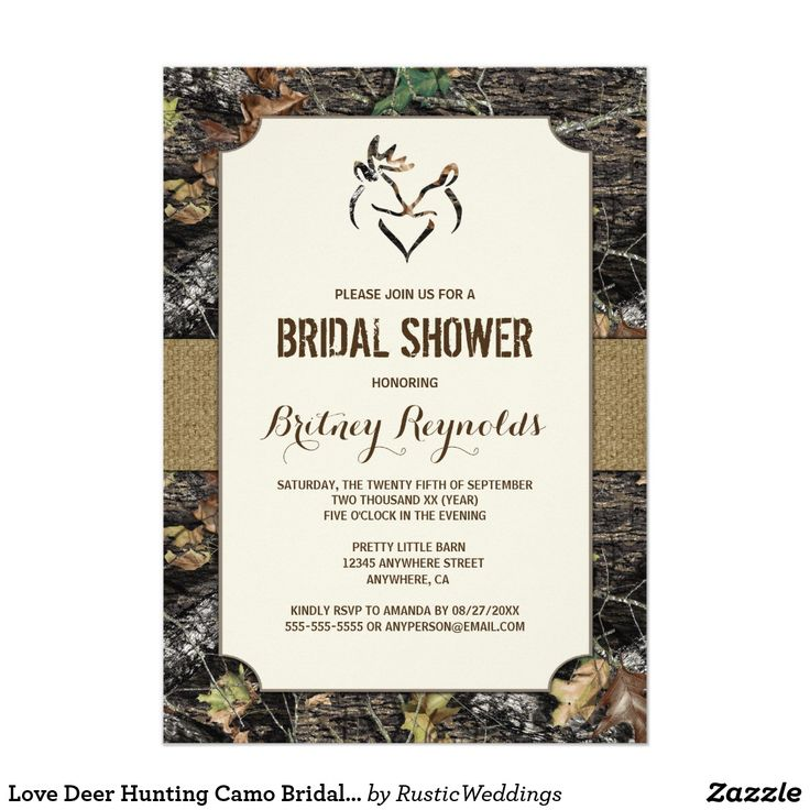 Love Deer Hunting Camo Bridal Shower Invitations Love Deer Hunting Camo Bridal Shower Invitations - features a printed rustic burlap band that wraps around the front and back with a hunting camouflage background. A buck and a doe are at the top, forming a heart.