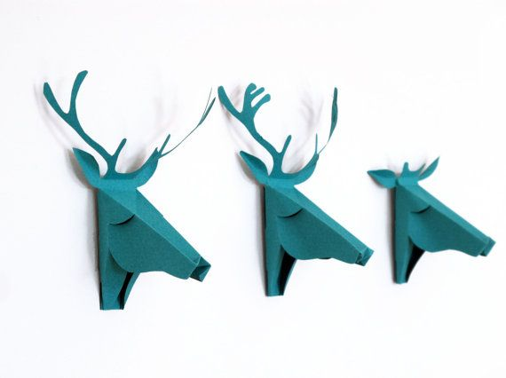 i bought these in orange last year - love them! they are paper crafts /// set of 3 faux deer head faux taxidermy  greeting by FrenchMelody, $9.00