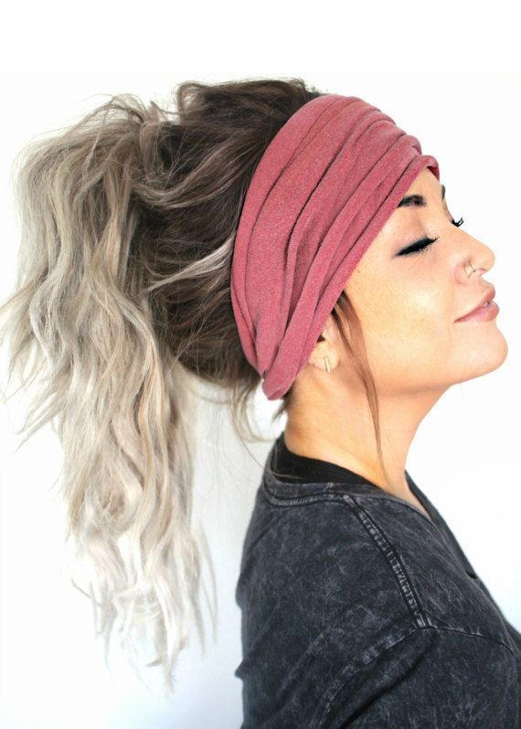 Mauve Scrunch Headband Extra Wide Headband Jersey by pebbyforevee