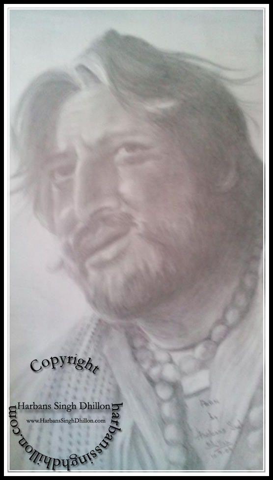 Pencil Portrait Of Indian Actor Pran