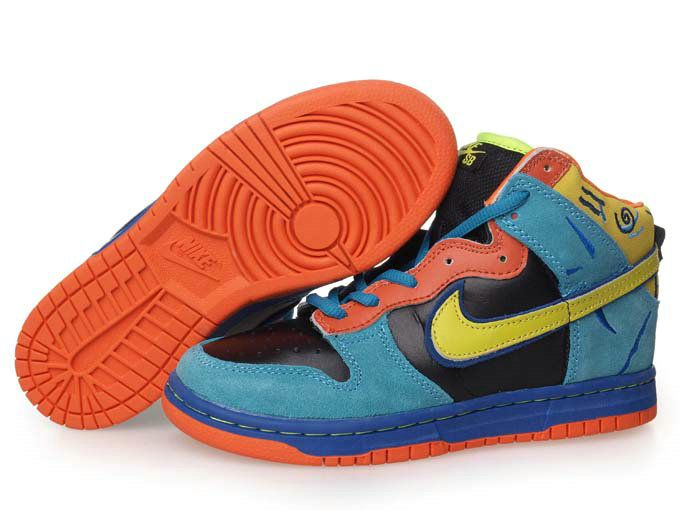 Discount Authentic Kids Nike Dunk Low Shoes Black/Blue/Dark Orange/Yellow
