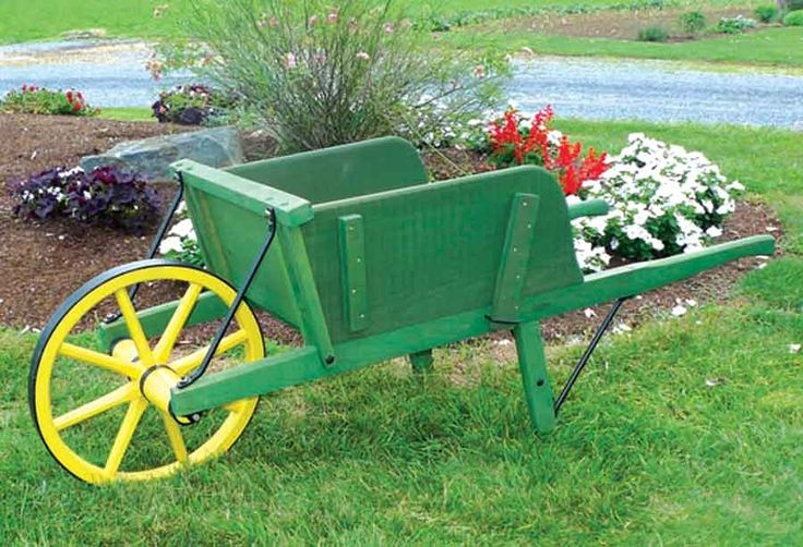Amish Large Green Wooden Wheelbarrow with Removable Sideboards - $498.00 - #DecorativeWheelbarrows #gardening