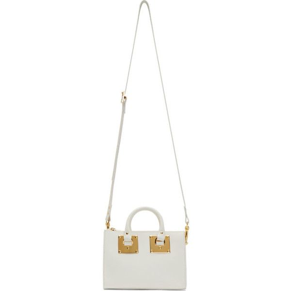Sophie Hulme White Leather Holmes Bowling Bag (€590) ❤ liked on Polyvore featuring bags, handbags, structured handbags, white leather purse, bowler handbags, white purse and white handbag
