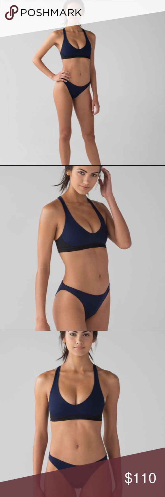 • Lululemon • Uncharted Waters Bikini Swim 6 Navy - Lululemon - Uncharted Waters Bikini Swim  - Top & Bottom - Top: Open Racerback with UV Protection - Bottom: mid Rise, skimpy Bum Coverage, High Cut Leg - Esca Fabric - Euro Navy / Black - Size 6 - New with Tags lululemon athletica Swim Bikinis