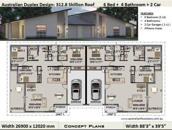 Best Selling Duplex Plans Duplex House Plans Modern House Etsy Duplex Design Duplex House Plans Duplex Floor Plans