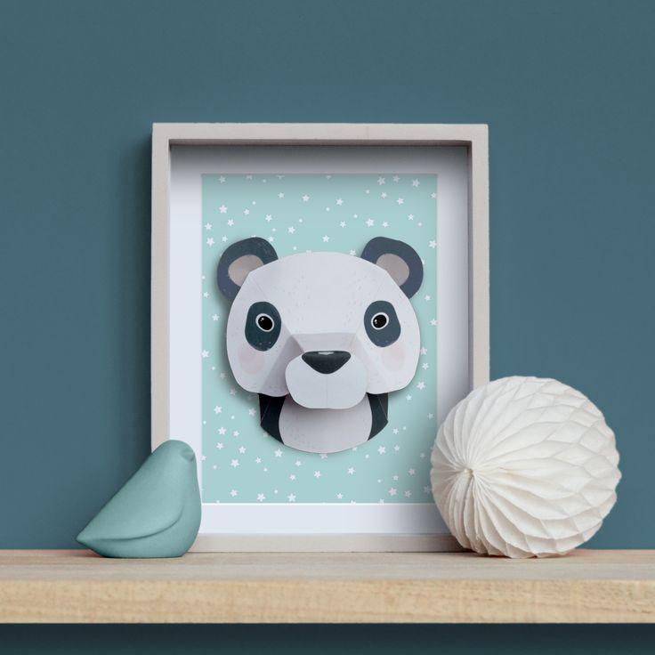 Trophée animaux en papier : panda #trophee #trophy #DIY #paper www.idee-creative.fr