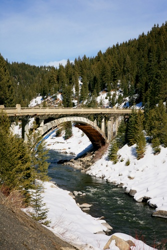 Old scenic bridge in the Idaho mountains on the way to McCall.