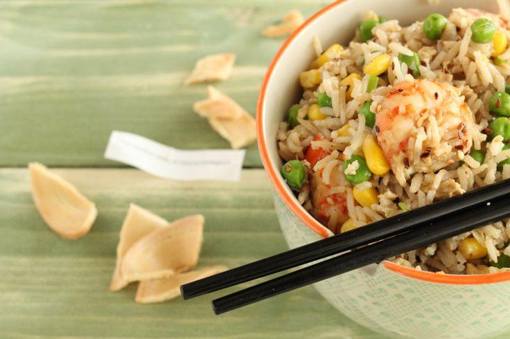 Ρύζι με αυγό, γαρίδες και λαχανικά