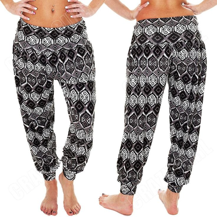 New Womens Ladies Ali Baba Aztec Print Harem Hareem Trousers Pants Size 8 14 S M #Unbranded #Harem