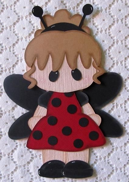 Girl Ladybug Paper Piecing for Scrapbook