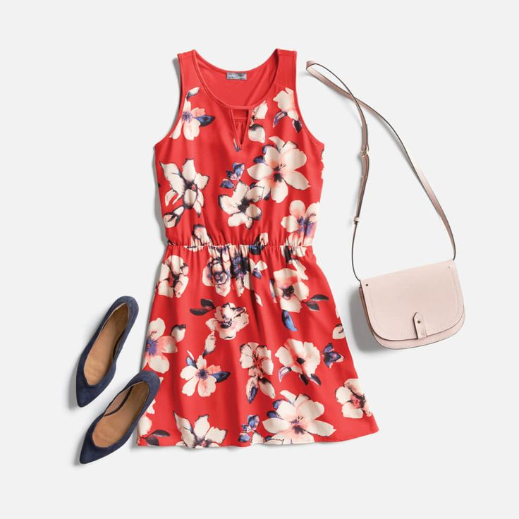 cute print and red-pink of the dress. I like the simple purse and the sweet pointed slip-ons.