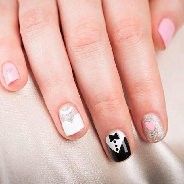 Such a cute idea for a wedding mani! #Manicure #Nails #Wedding