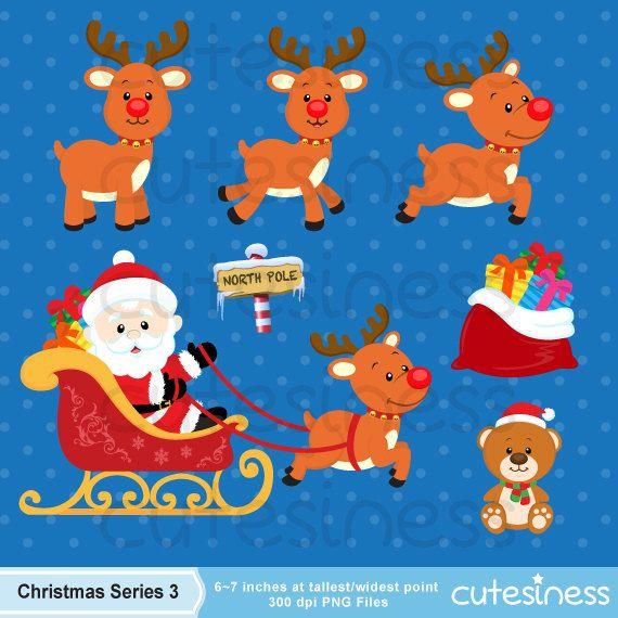 Christmas Digital Clipart Christmas Clipart Santa por Cutesiness