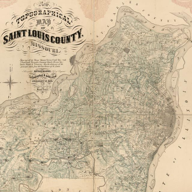 The Waagner's map of St Louis County, Missouri  (1857) square thumbnail image