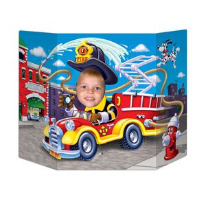 1098 - Firefighter Photo Prop Photo Prop Fire Truck / Firefighter (94cm x 64cm) Cardboard (Not suitable for Express Post due to size of product) - Each