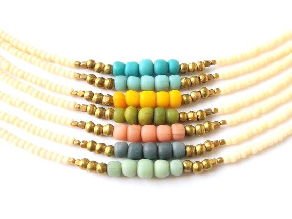 Boho Jewelry Dainty Tribal Bracelet Friendship Bracelet - Pick Your Color - Tribal Jewelry Bohemian Jewelry - Stackable Seed Bead Bracelet on Etsy, $13.00