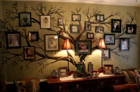 family tree: Decor Ideas, Family Trees, Families Trees Wall, Living Room, Families Photo, Pictures, Cool Ideas, House, Trees Murals
