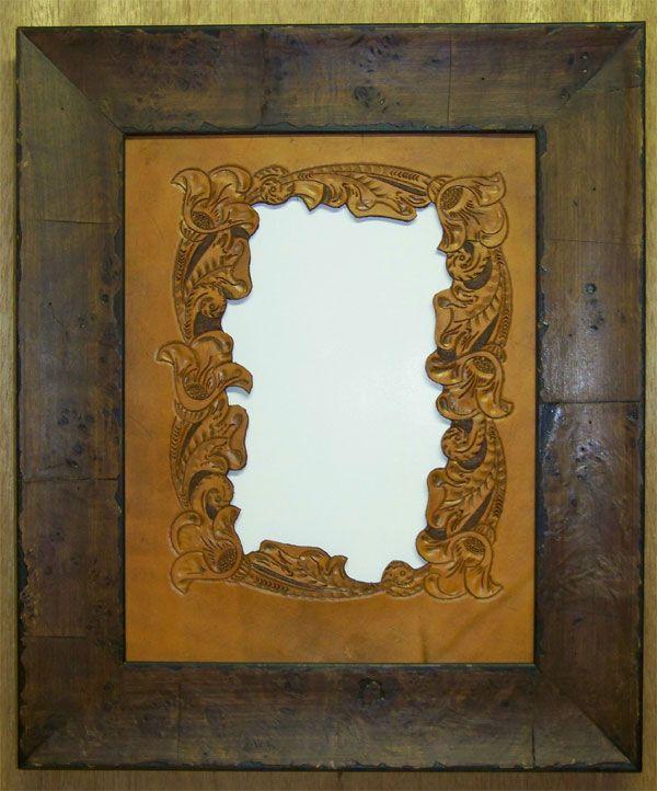 Western Decor Hand Tooled Mat and Frame - Western Decor - Cabin Decor
