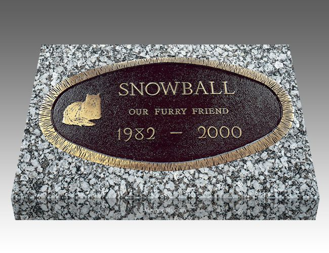 With our Oval Pet Headstones, you can memorialize your loved best friend forever.   All our Grave Markers are made to industry standards and regulations. Memorials.com has created a 5 Star Customer Service Rating Program for you to feel comfortable when purchasing from us. We are members of many trade organizations.