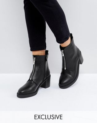 ba3fb11acdb1 The March Black Zip Front Chunky Heeled Ankle Boots
