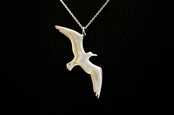 Seagull bird necklace bird jewelry freedom symbol pendant