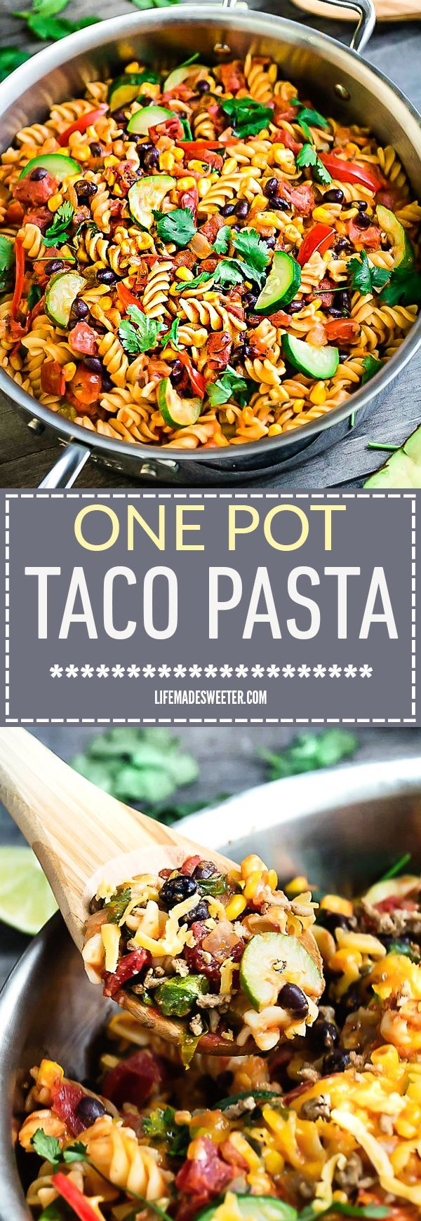 One Pot Taco Pasta Skillet makes the perfect easy weeknight meal.  delicious and easy Best of all, everything cooks up in just ONE PAN, even the pasta. Made with all your favorite taco flavors cooked and so simple to customize with your favorite vegetable