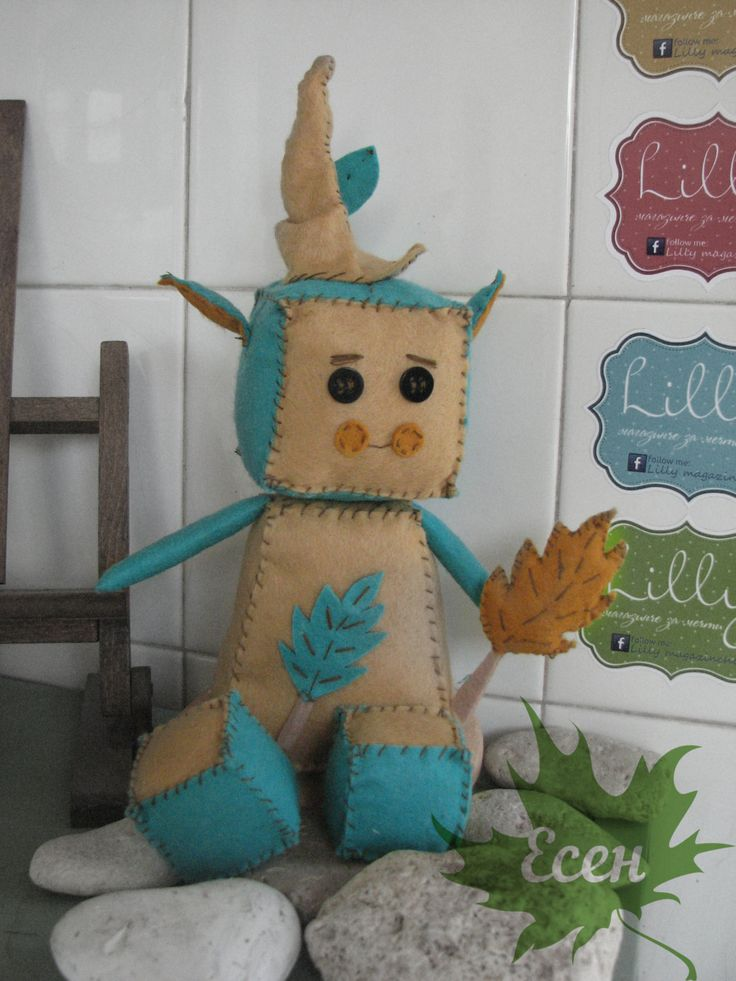 Elf Robot with a hat and leaf , Autumn Robot Felt Doll, Baby Robot Nursery Plush, Robot Nursery by Lillymagazinche on Etsy
