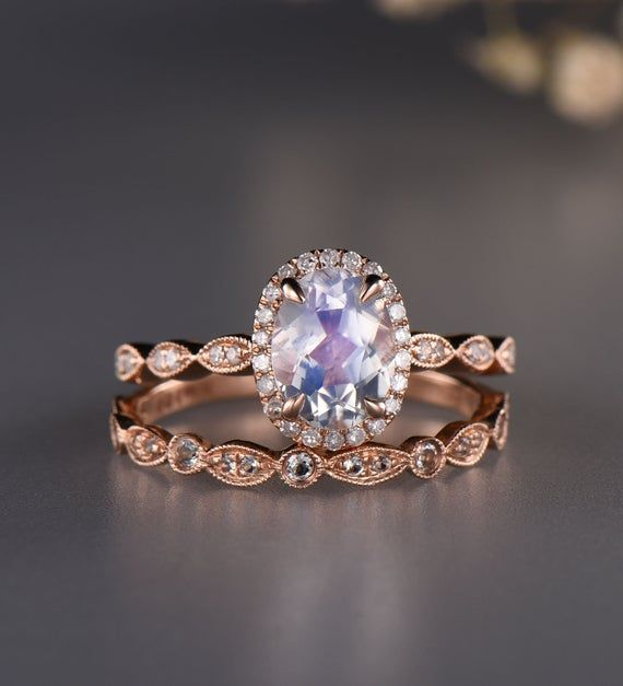 Ice Wedding Stacking Ring Moonstone Engagement Ring Solid 925 Sterling silver engagement ring Unique Anniversary Gift for Women Gold Ring